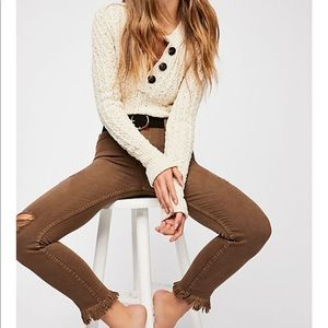 Free People Great Heights Frayed Skinny Jeans 26